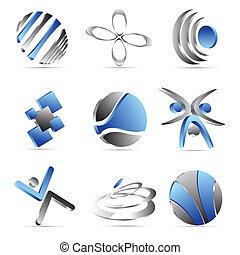 azul, ícones negócio, desenho