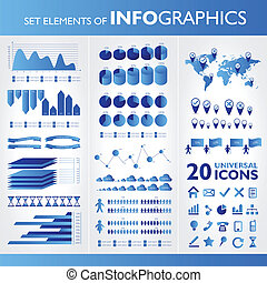 azul, ícones, set., infographics., vetorial, universal, ...