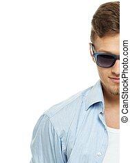 azul, óculos sol cansativo, camisa, isolado, elegante, branca, homem