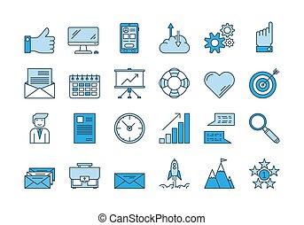 azul, 01, conjunto, iconos del negocio