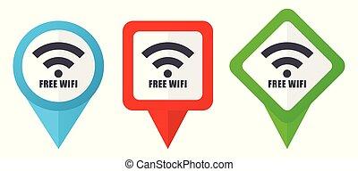 azul, 10, conjunto, plano de fondo, colorido, corregir, indicadores, wifi, aislado, marcadores, eps, icons., vector, verde, ubicación, fácil, libre, rojo blanco