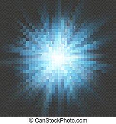 azul, 10, explosión de la estrella, effect., llamarada, aislado, eps, fondo., explosión ligera, transparente, brillo