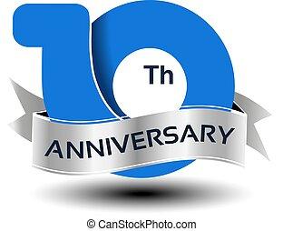 azul, 10, número, anos, aniversário, vetorial, prata, fita