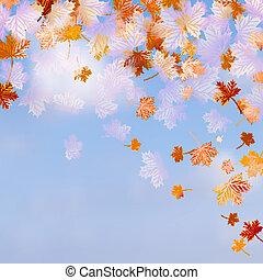 azul, 10, sky., folhas, eps, outono