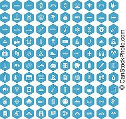 azul, 100, jogo, aventura, ícones