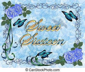 azul, 16, dulce, rosas, cumpleaños, frontera