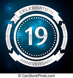 azul, 18, aniversario, 18, años, fondo., vector, dieciocho, ...