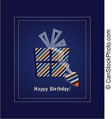 azul, 2, cartão, aniversário, feliz