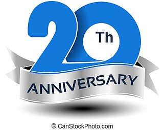 azul, 20, número, anos, aniversário, vetorial, prata, fita