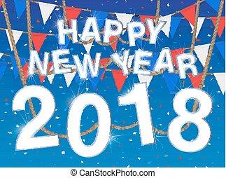 azul, 2018, fundo, ano, novo, celebração, feliz