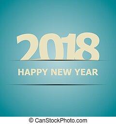azul, 2018, fundo, ano, novo, feliz