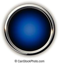 azul, 3d, botão