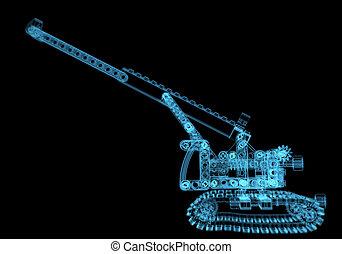 azul, (3d, lego, transparent), radiografía, grúa