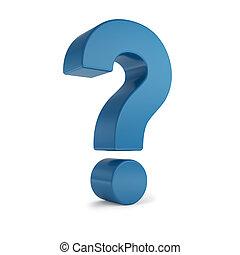 azul, 3d, marca pergunta
