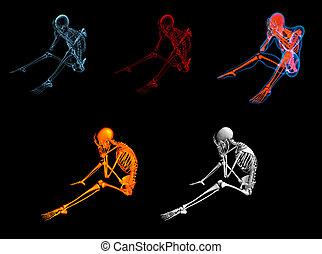 azul, 3d, representado, esqueleto, sentando