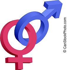 azul, 3d, símbolos, femininas, macho, vermelho, engrenado
