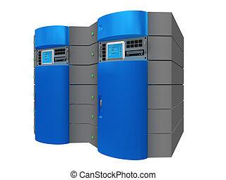 azul, 3d, servidor