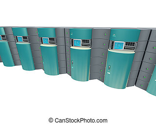 azul, 3d, servidores