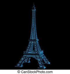 azul, (3d, transparent), eiffel, radiografía, torre