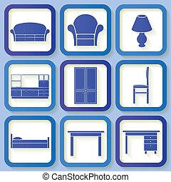 azul, 9, mobília, jogo, ícones