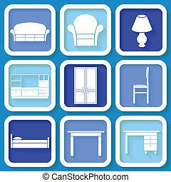 azul, 9, muebles, conjunto, iconos