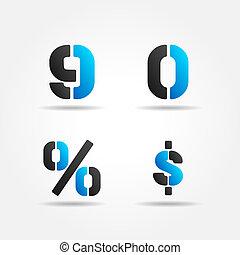 azul, 90, estêncil, números, 3d