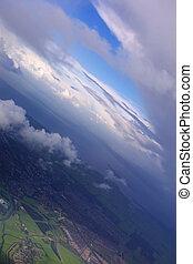 azul, aéreo, cielo, dramático, tierra, nubes, vista