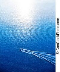 azul, aéreo, Mediterráneo, mar, ir, barco, vista