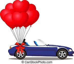 azul, aberta, cabriolé, car, modernos, escuro, balões, caricatura