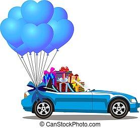 azul, aberta, cabriolé, car, modernos, presentes, montão, caricatura
