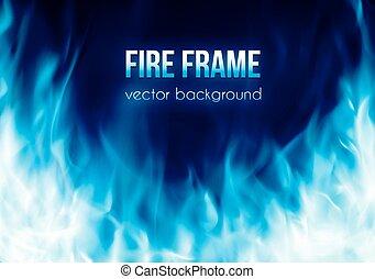 azul, abrasador, color, marco, fuego, vector, bandera