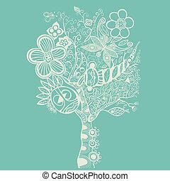 azul, abstratos, árvore