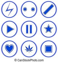 azul, abstratos, branca, contra, ícones