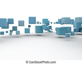 azul, abstratos, caixas, 3d