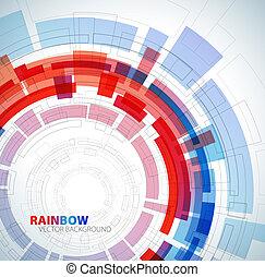 azul, abstratos, cores, fundo, vermelho