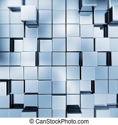 azul, abstratos, cubos