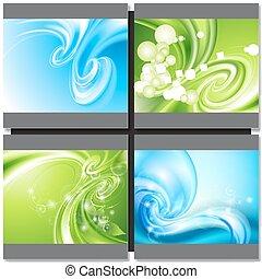 azul, abstratos, experiência verde