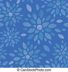azul, abstratos, flores, têxtil, seamless, padrão, fundo
