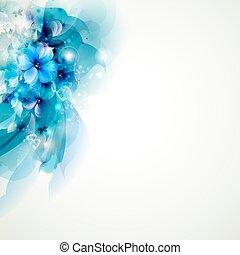 azul, abstratos, flores