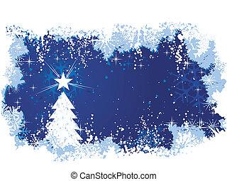 azul, abstratos, fundo, com, gelo, e, neve, um, árvore natal, com, estrelas, e, grunge, elements., grande, para, sazonal, /, inverno, themes., espaço, para, seu, text.