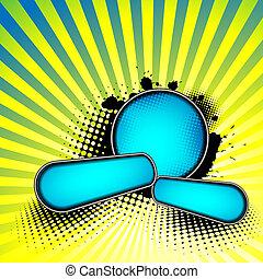 azul, abstratos, fundo, emblemas