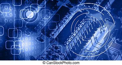 azul, abstratos, fundo, nova tecnologia, ilustre