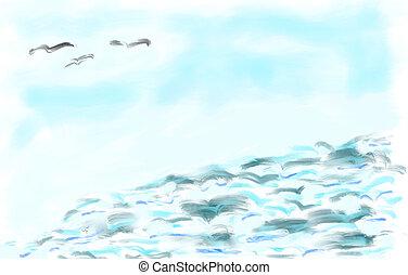 azul, abstratos, fundo, oceânicos