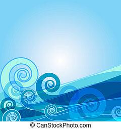 azul, abstratos, fundo, (vector)