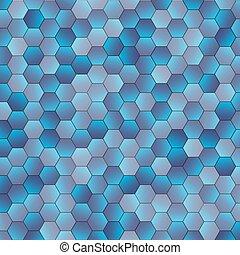 azul, abstratos, hexágono, fundo