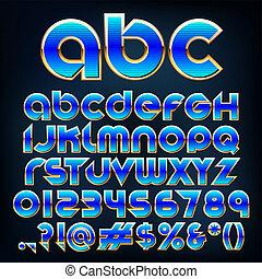 azul, abstratos, ilustração, metálico, vetorial, fonte