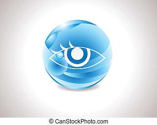 azul, abstratos, lustroso, visão, ícone