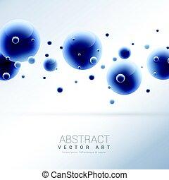 azul, abstratos, moléculas, fundo, 3d