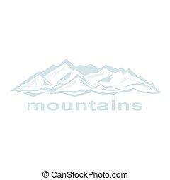 azul, abstratos, montanhas., cumes