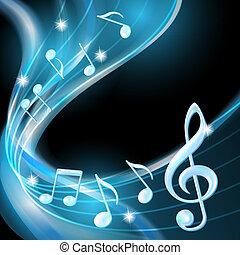 azul, abstratos, notas, música, experiência.